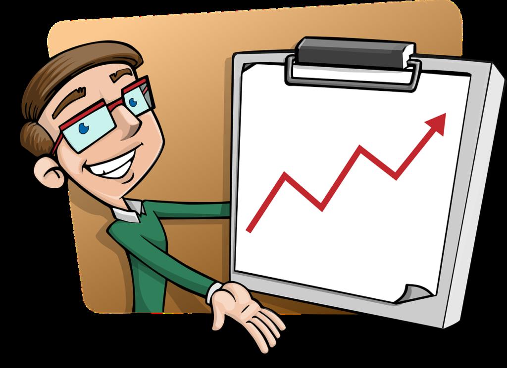 אילוסטרציה של אדם ממושקף מראה גרף צמיחה חיובי